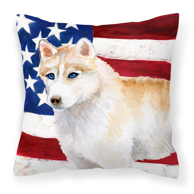Carolines Treasures BB9655PW1818 Siberian Husky Patriotic Fabric Decorative Pillow - image 1 de 1