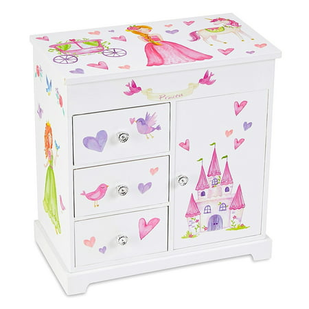 Unicorn Musical Jewelry Box with 3 Pullout Drawers, Fairy Princess and Castle Design, Dance of the Sugar Plum Fairy Tune