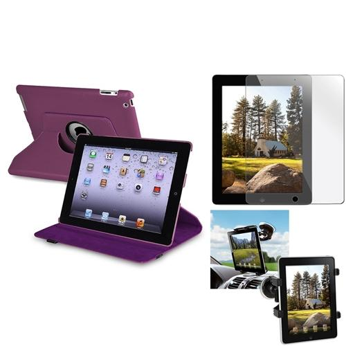 Insten Car Mount Windshield Holder+Purple 360 Leather Case+Cover for iPad 2 3 3rd 4 4th (Supports Auto Sleep/Wake)