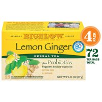 Bigelow Lemon Ginger Probiotics Herbal Tea, Tea Bags, 18 Ct (4 Boxes)