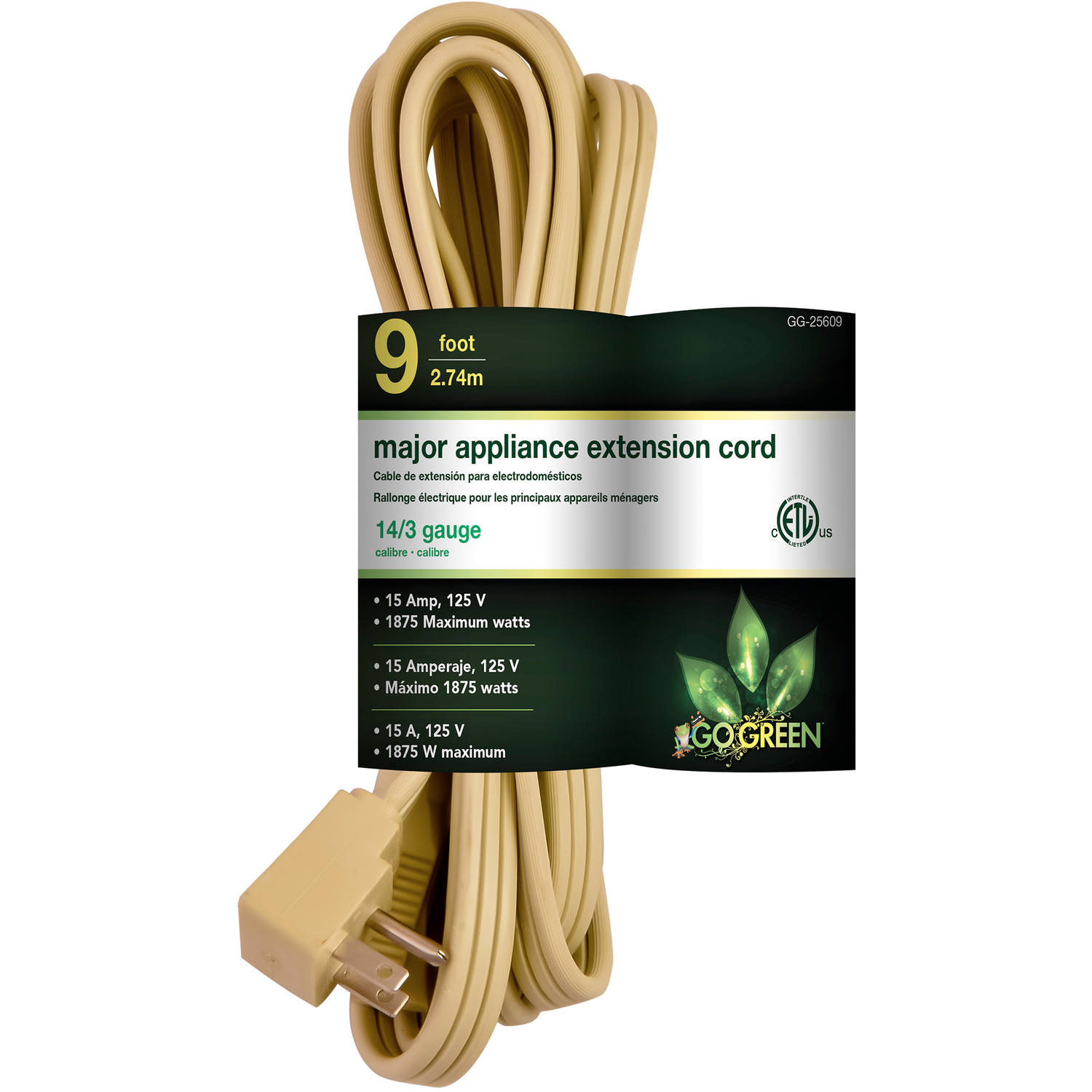 GoGreen Power 14/3 9' Appliance Cord, Beige, 25609