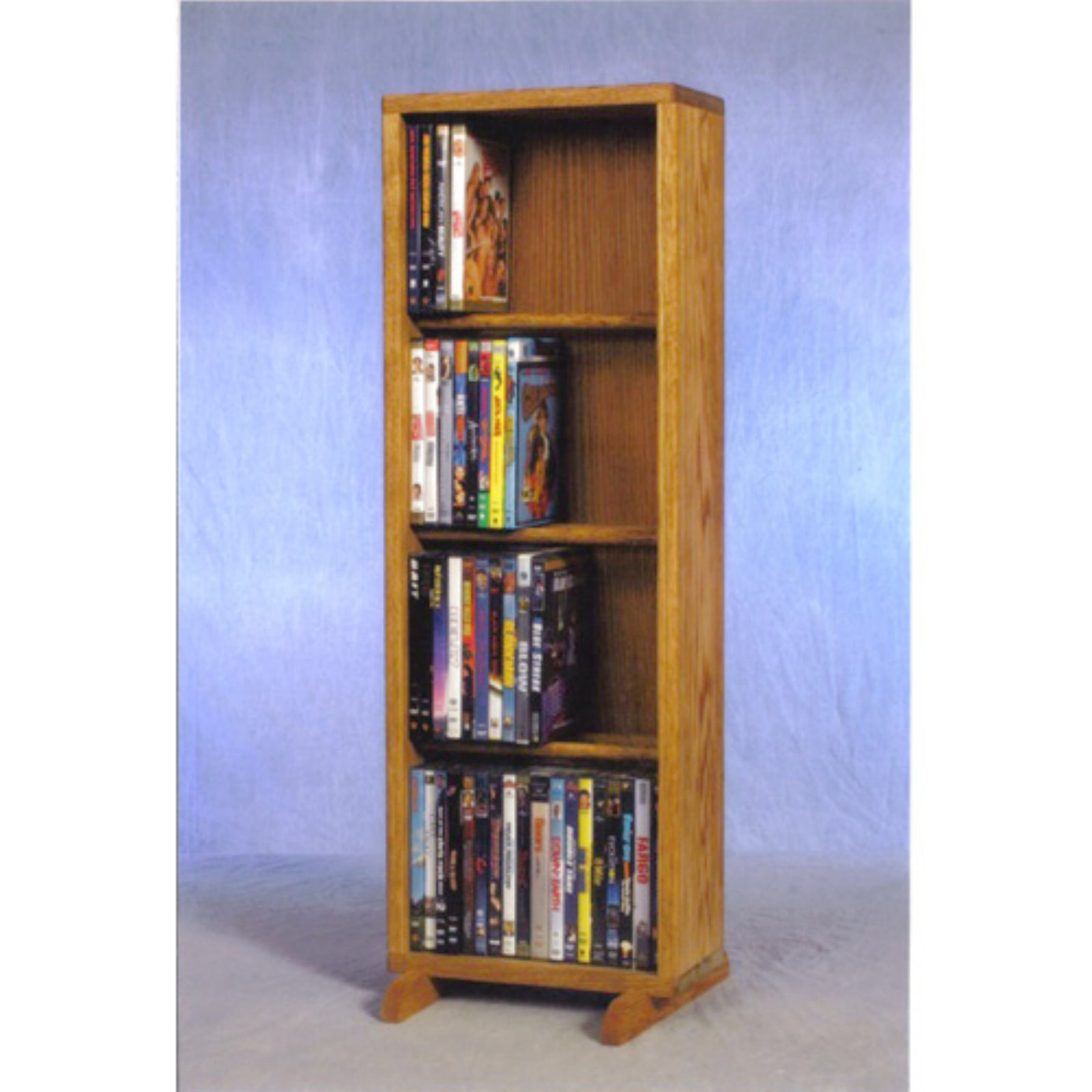 The Wood Shed Solid Oak 4 Row Dowel CD   DVD Combination Media Rack 12 in. Wide by The Wood Shed