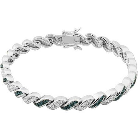(Swarovski Crystal Sterling Silver Bracelet, 7.25