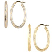 Fremada  10k Yellow or Two-tone Gold Polished and Textured Finish Oval Hoop Earrings