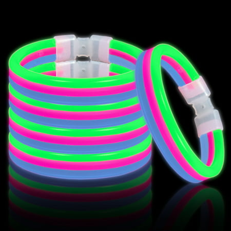 Lumistick Glow Band Bracelets - Triple Wide Neon Party Favor Glow Sticks with Connectors Green Pink and Blue - Neon Light Stick
