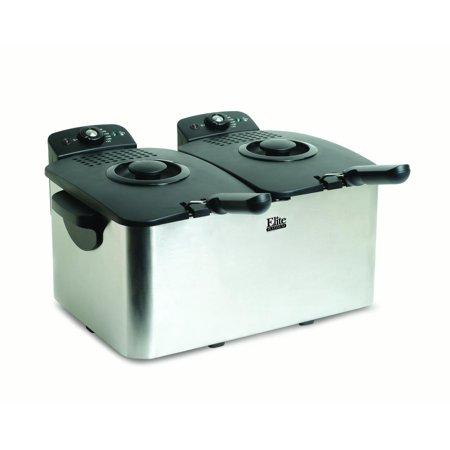 Elite Platinum Stainless Steel Dual Deep Fryer, 2 x 3 qt