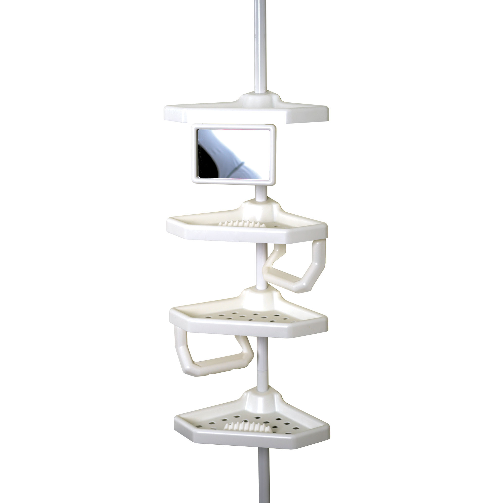 Zenna Home Tension Corner Pole Caddy, White