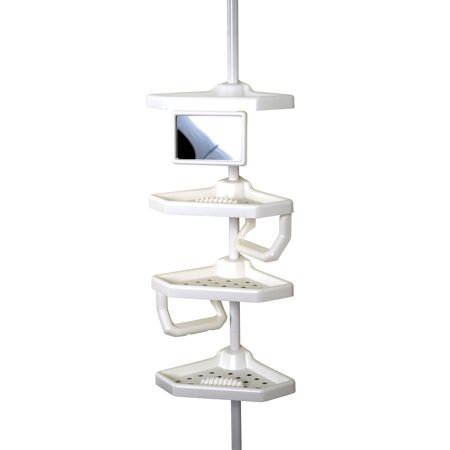 White Wood Caddy - Zenna Home Tension Corner Pole Caddy, White