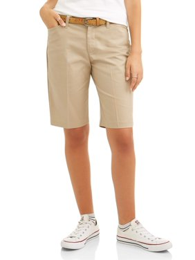 Real School Juniors' Flat Front Low Rise School Uniform Shorts