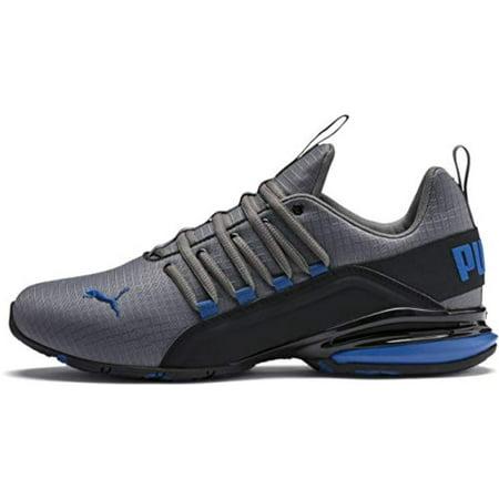 PUMA Men's Axelion Sneaker, Castlerock Black-Galaxy Blue, 12 M US