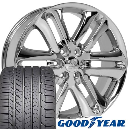 22x9 Wheels & Tires Fit Ford Trucks - F150 Style Chrome Rims and Goodyear Tires, Hollander 3918 -
