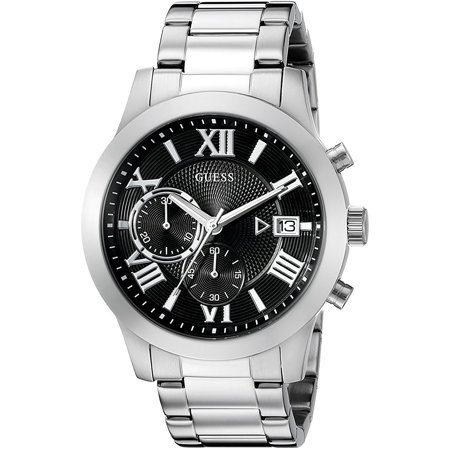 GUESS W0668G3,Men Chronograph,Stainless steel case and bracelet,Silver Tone,Black Dial,date,100m WR