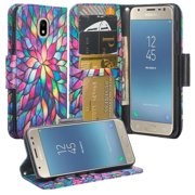 For Tracfone/StraightTalk Samsung Galaxy J3 Orbit (S367VL) Case Leather Wallet Case [ID&Credit Card Slots] Flip Phone Cases  - Rainbow Flower