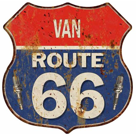 VAN Route 66 Personalized Shield Metal Sign Man Cave Gift - Vans Personalized