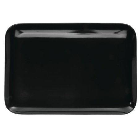 Serving Tray Display Tray Low Profile Black Melamine Plastic - 11 3/8 L x 8