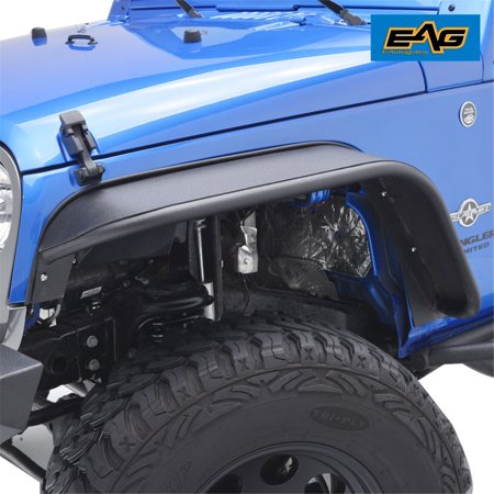 EAG Steel Style Rocker Guard Textured Front Fender Flares - fits 07-16 Jeep Wrangler