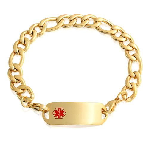 Bling Jewelry Mens Stainless Steel Medical Alert Red Enamel ID Tag Bracelet 8.5in Gold Plated