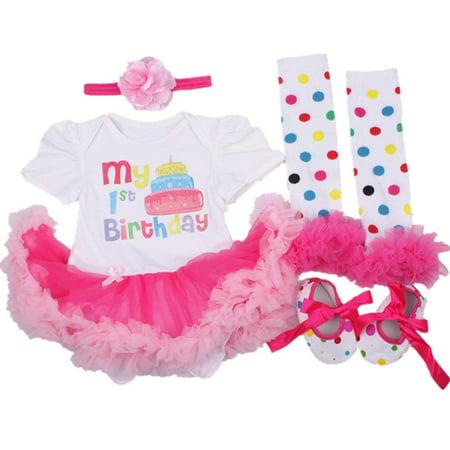 b34675af2 AISHIONY - AISHIONY 4PCS Baby Girl Newborn 1st Birthday Tutu Onesie ...