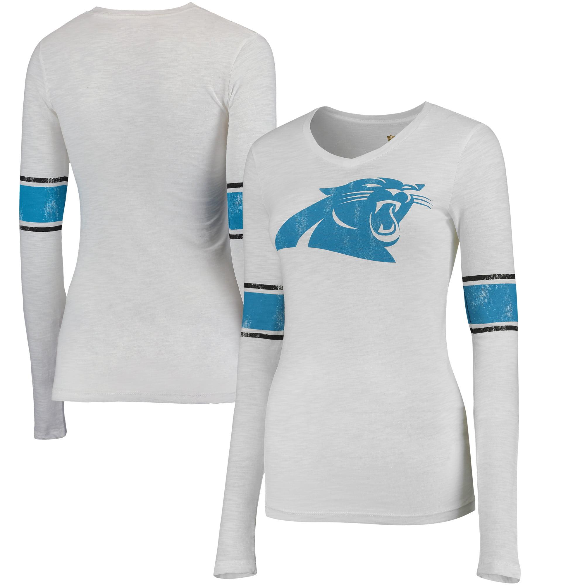 Carolina Panthers Juniors Team Leader V-Neck Long Sleeve T-Shirt - White