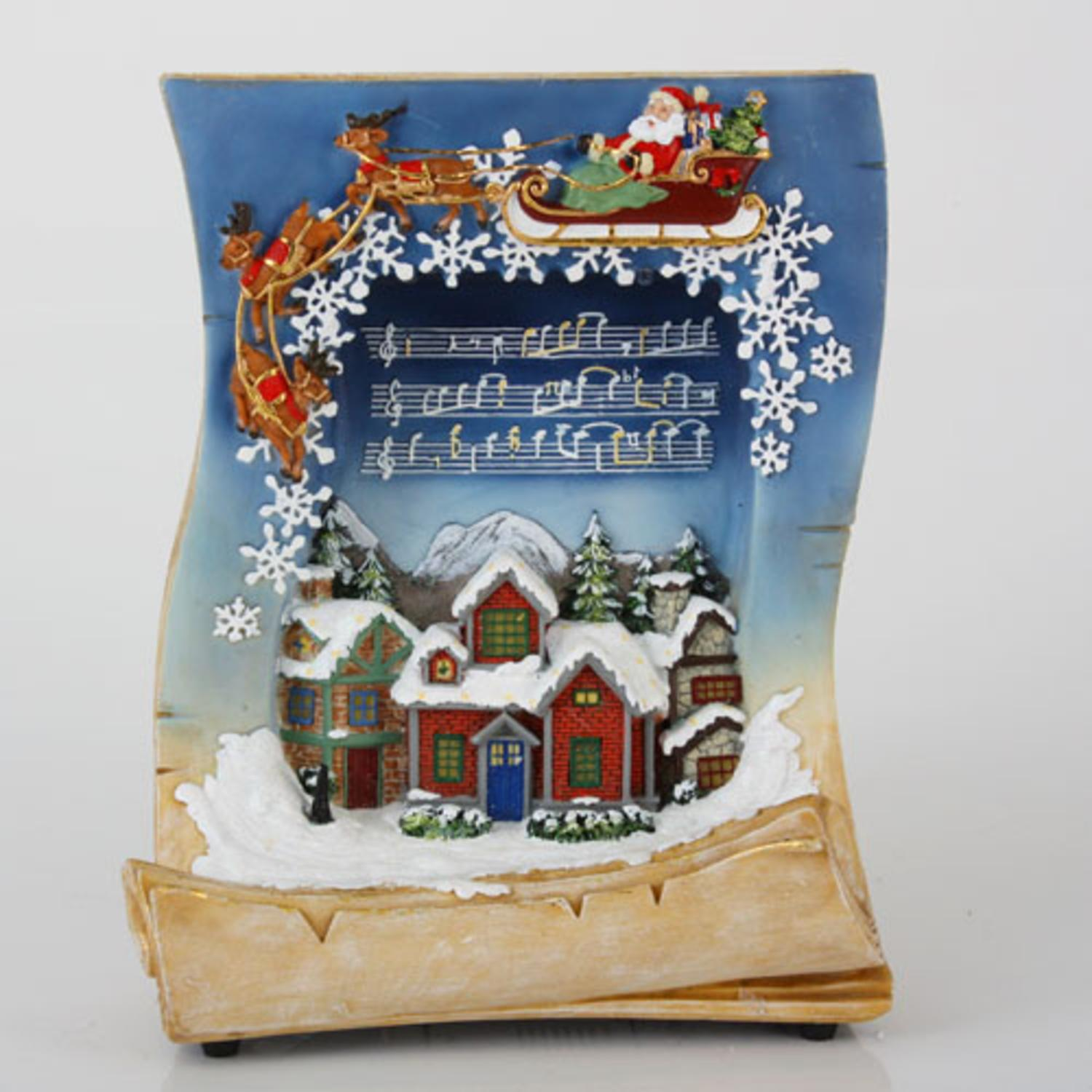 "10.5"" LED Lighted Musical Holiday Village Book Christmas Tabletop Decoration"