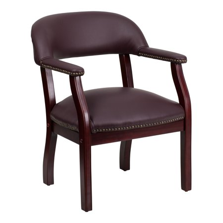 - A Line Furniture Burgundy Top Grain Leather Office Conference Side Chair with Brass Nailhead Trimming