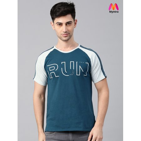 905184a07 HRX by Hrithik Roshan Men Teal Blue Printed Round Neck T-shirt - image 1 ...