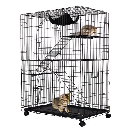 Costway 2 Tier Cat Playpen Cat Cage With 2 Climbing Ladders 2 Rest
