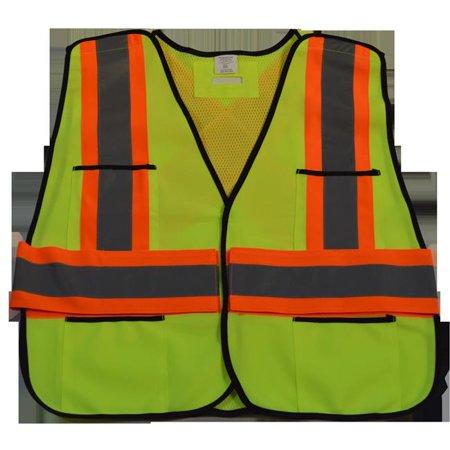 Halloween Public Safety (Petra Roc LV2-PSVCSA-Reg ANSI & CSA Public Safety Vest Solid Front Mesh Back, X On Back - Regular Small & Extra)