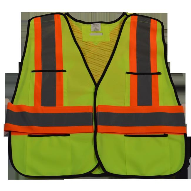 ANSI & CSA Public Safety Vest Solid Front Mesh Back, X On Back - Regular Small & Extra Large
