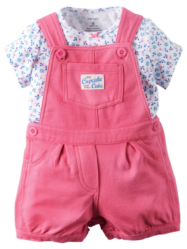 Carters Baby Clothing Outfit Girls 2-Piece Tee & Shortalls Set Floral