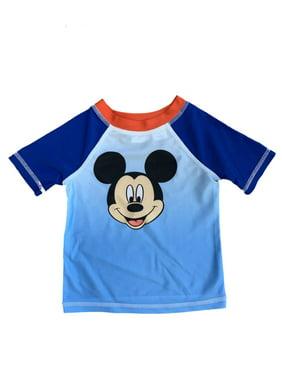 Toddler Boys Blue Ombre Mickey Mouse Rash Guard Swim Shirt