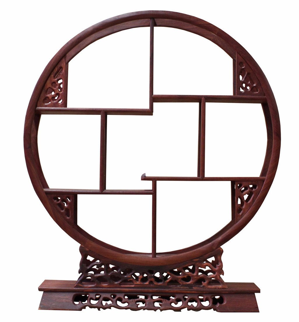 Chinese Red Brown Wood Round Small Curio Display Stand cs2625S by