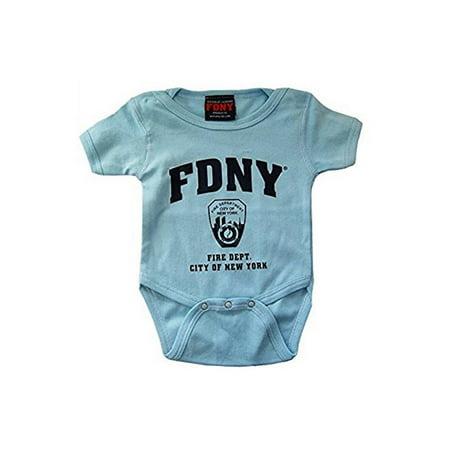- FDNY INFANTS LIGHT BLUE BodySuit WITH NAVY CHEST PRINT