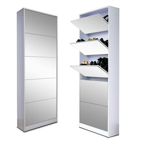 Organizedlife Wood Shoe Cabinet Storage Rack With Drawer Full Mirror White