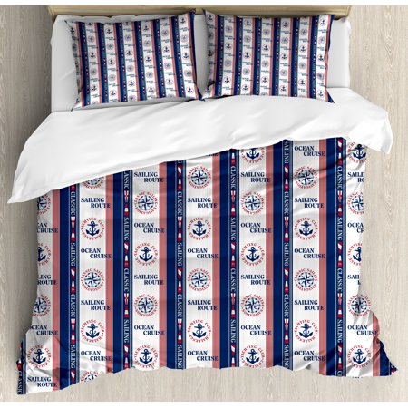 Compass Duvet Cover Set Ocean Cruise Sailing Route Yatching Club