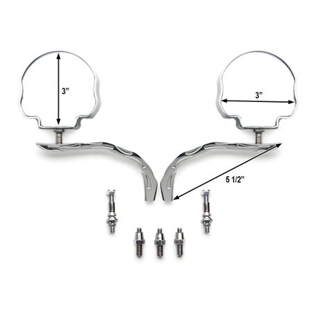 Custom Rear View Mirrors Chrome Pair w/Adapters For Yamaha Virago XV 250 500 535 700 750 920 1100 - image 1 de 3