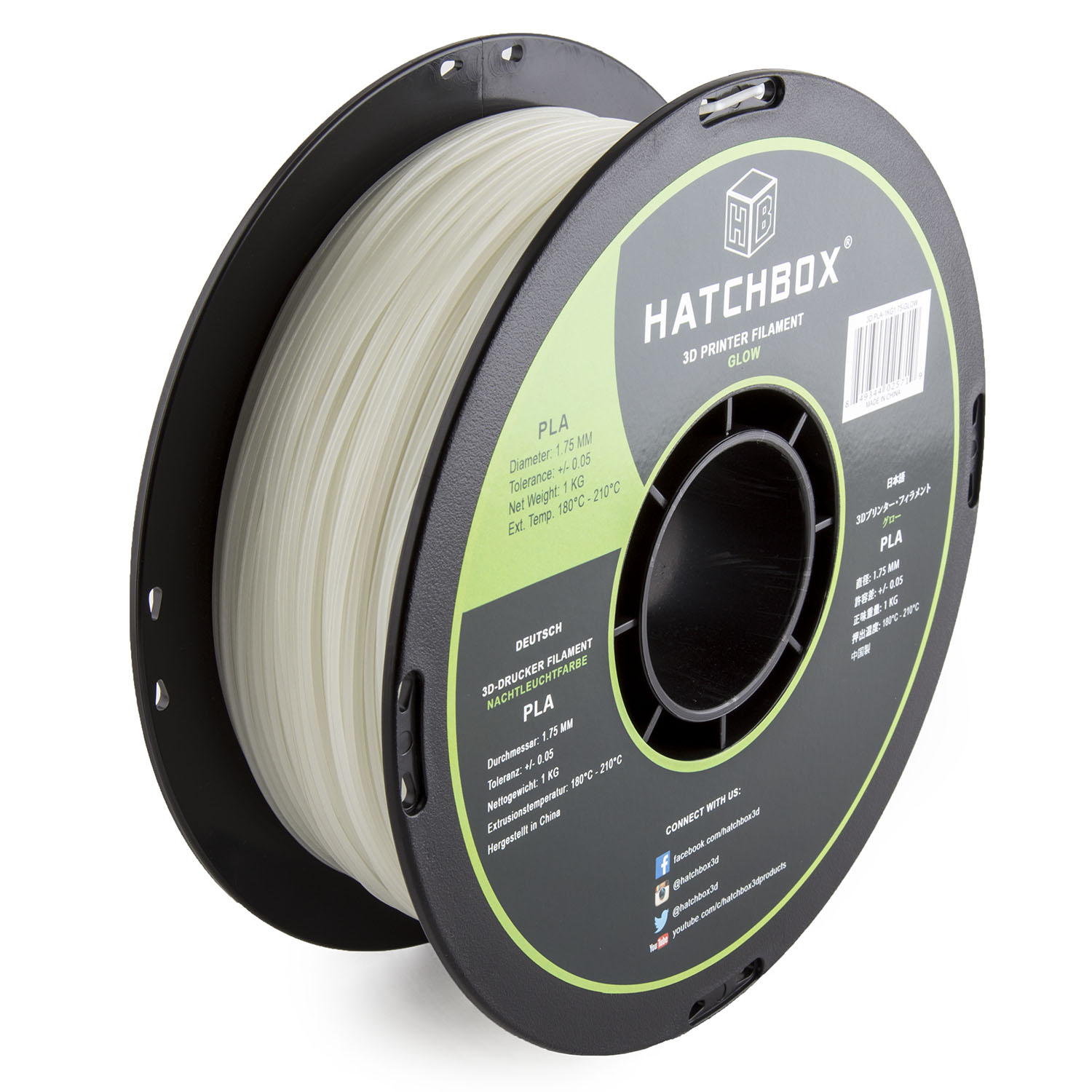 HATCHBOX 3D PLA-1KG1.75-GLOW PLA 3D Printer Filament, Dimensional Accuracy +/- 0.05 mm, 1 kg Spool, 1.75 mm, Glow in the Dark
