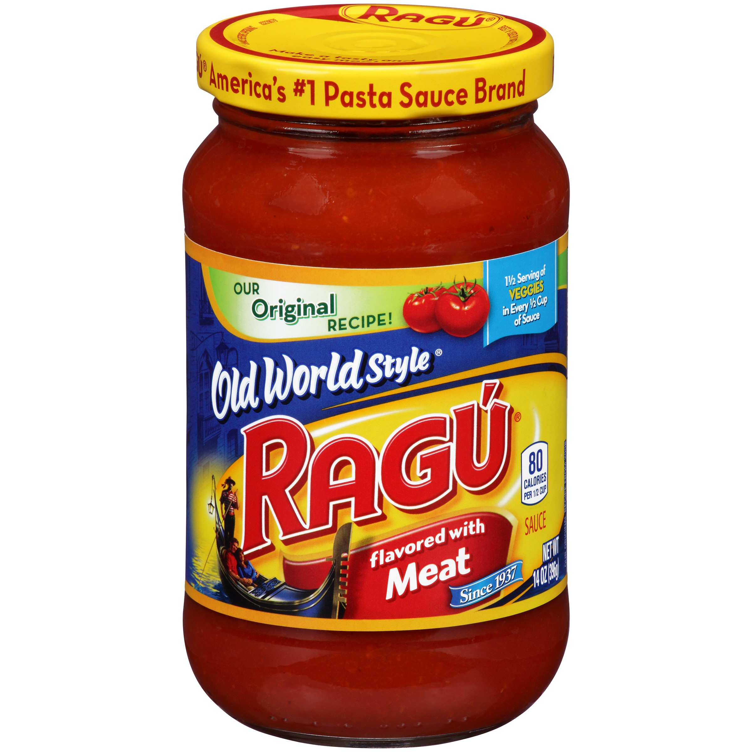 Ragu Old World Style Pasta Sauce, Flavored with Meat, 14 Oz