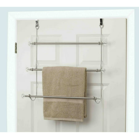 Home Basics 3 Tier Chrome Plated Steel Over The Door Towel Rack
