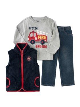 Kids Headquarters Infant Toddler Boys 3P Fire Truck Outfit Vest Shirt Pants
