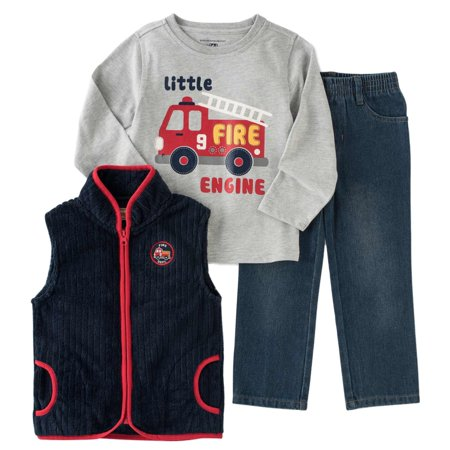 Kids Headquarters Infant Toddler Boys 3P Fire Truck Outfit Vest Shirt Pants (Jordan Toddler Outfit)