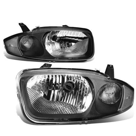 For 03 05 Chevy Cavalier Pair Of Headlight Lamp  Black Housing Clear Corner  3Rd Gen
