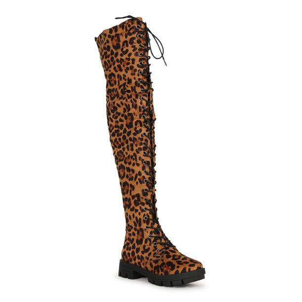 Women's Faux Suede Lace Up Chunky Lugged Sole Over the Knee Boot 19758