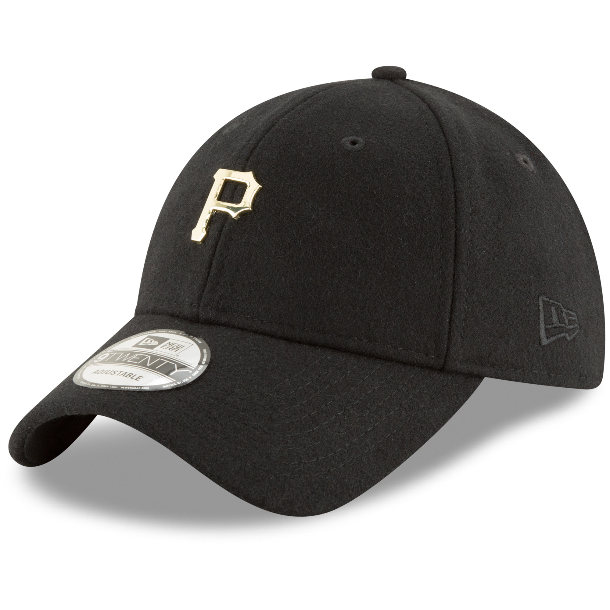Pittsburgh Pirates New Era Women's Badge Slick Lightly Structured Gold Logo 9TWENTY Adjustable Hat - Black - OSFA
