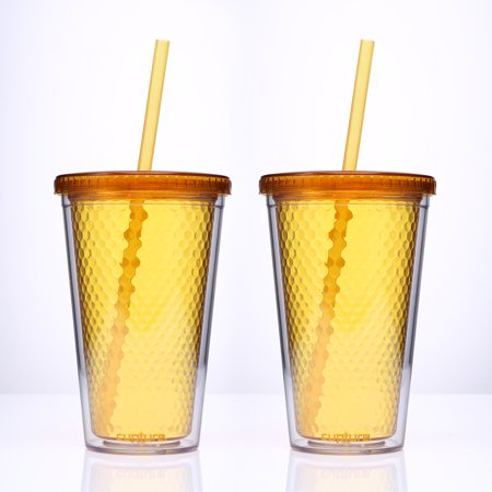 Best Cupture? Beehive Orange/Honey color Insulated Double Wall Tumbler Cups - 16 oz, 2 Pack deal
