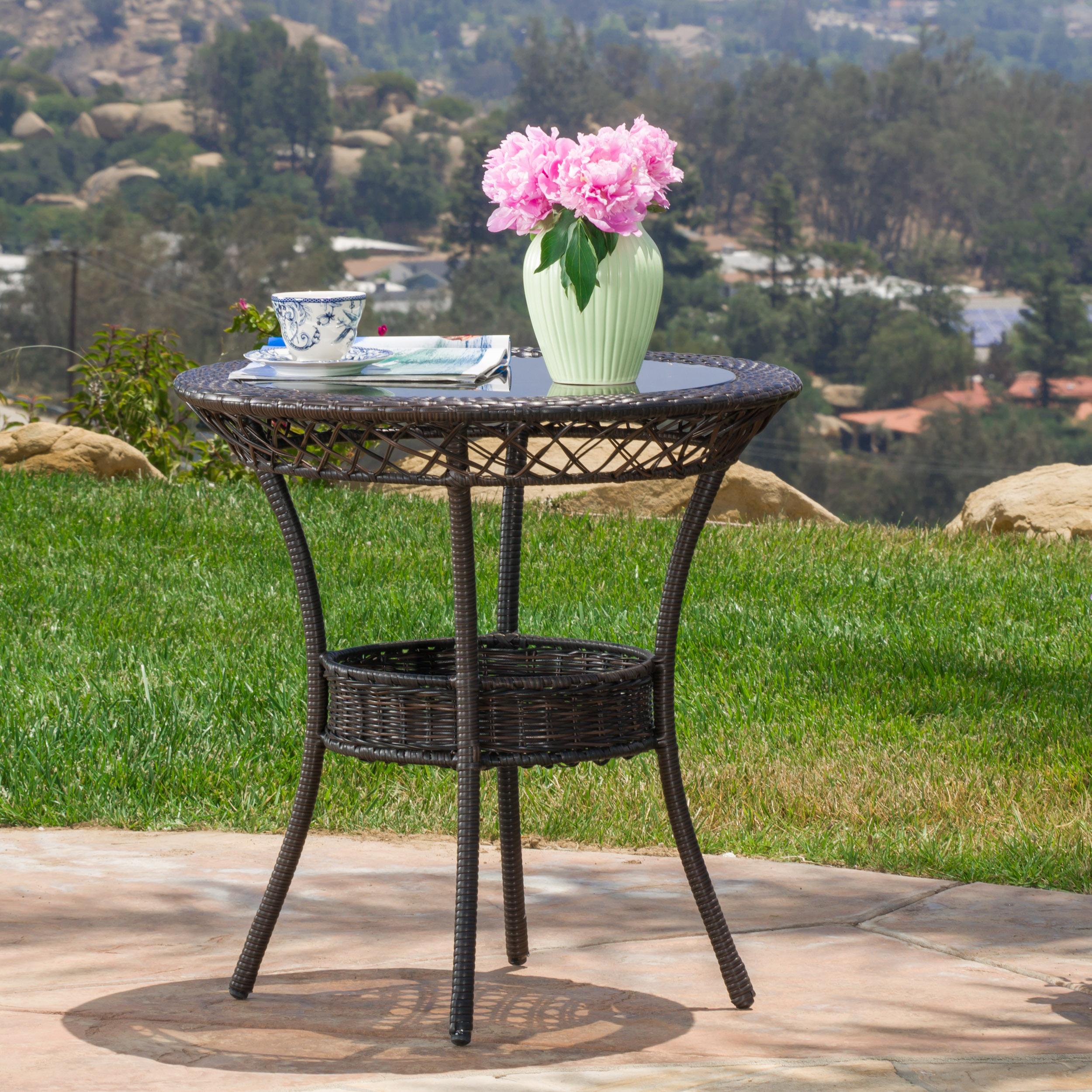 """Juniper Outdoor Wicker 27"""" Bistro Glass Table, Multibrown"""