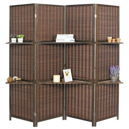 Deluxe 4-Panel Woven Brown Bamboo Folding Room Divider Screen w/ Removable Storage Shelves ()
