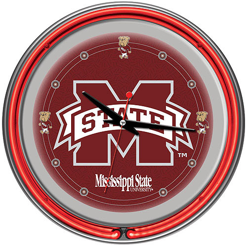 """Mississippi State University 14"""" Neon Wall Clock"""