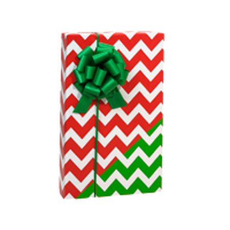 Reversible Double-Sided Red Green White Chevron Birthday / Special Occasion Gift Wrap Wrapping Paper-16ft