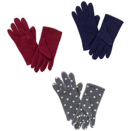 Women's 3 Pack Fleece Gloves